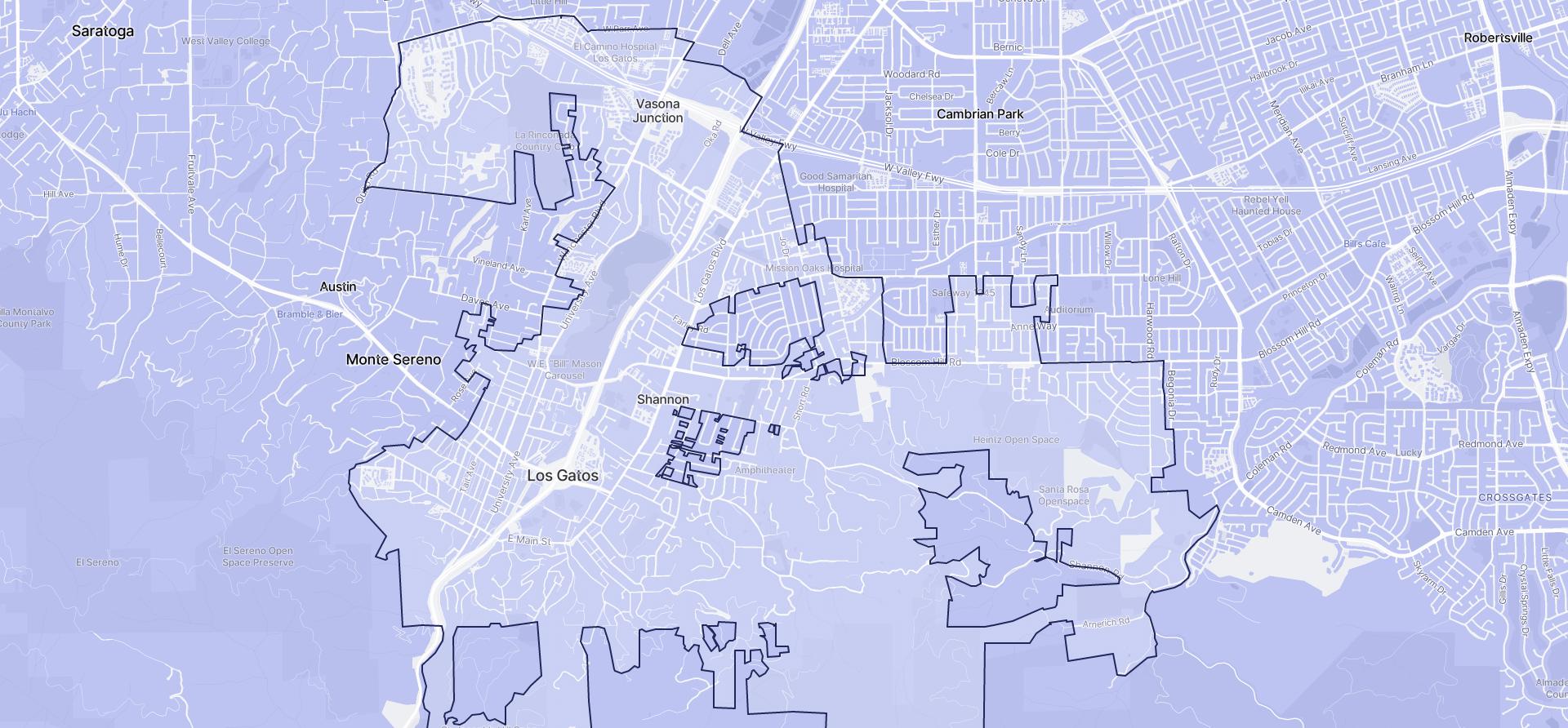 Image of Los Gatos boundaries on a map.