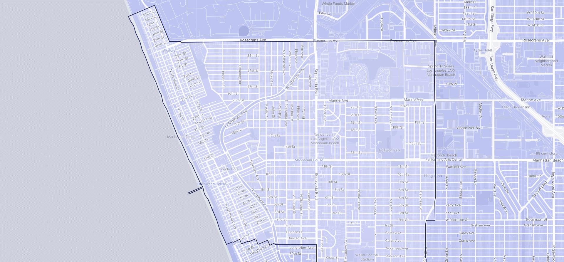 Image of Manhattan Beach boundaries on a map.