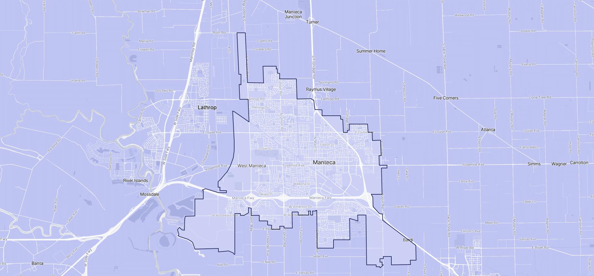 Image of Manteca boundaries on a map.
