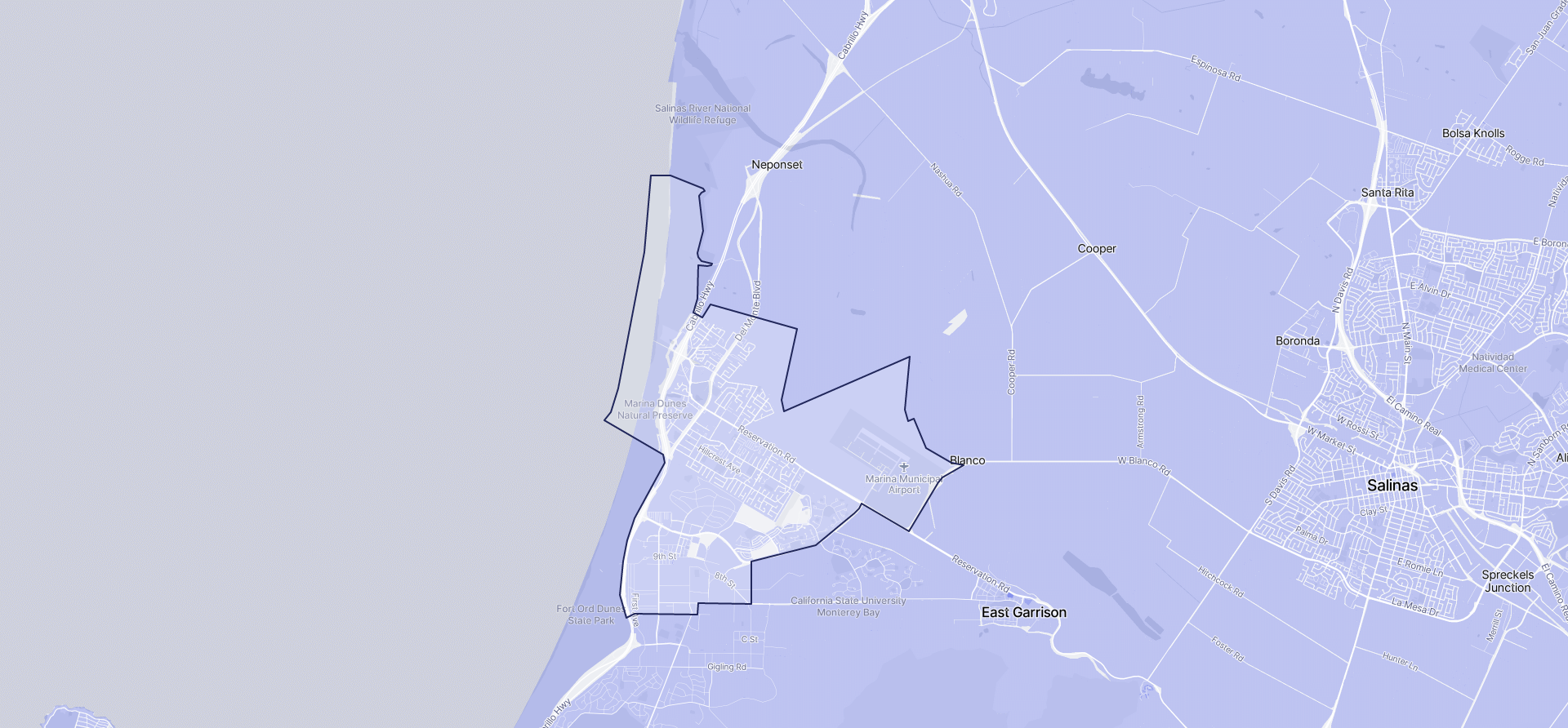 Image of Marina boundaries on a map.