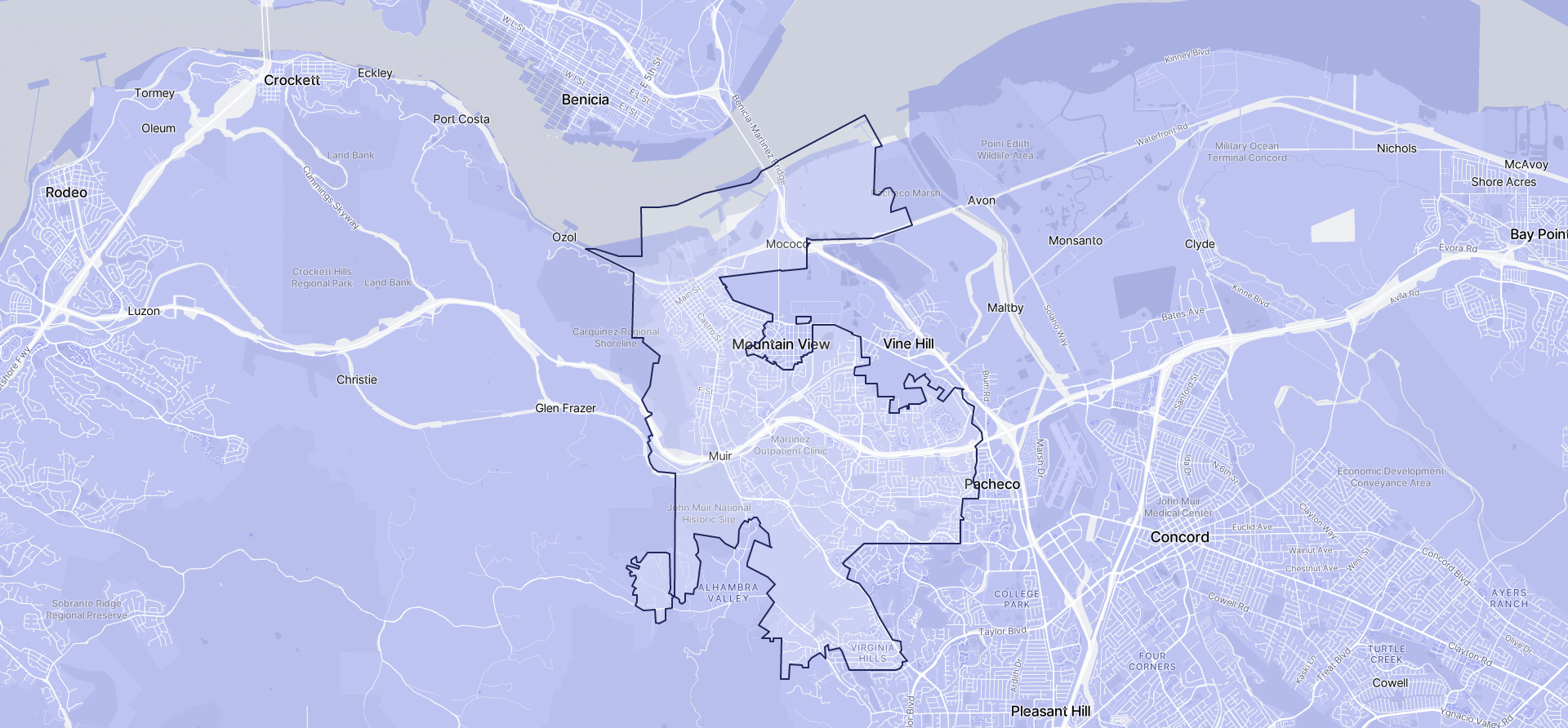 Image of Martinez boundaries on a map.