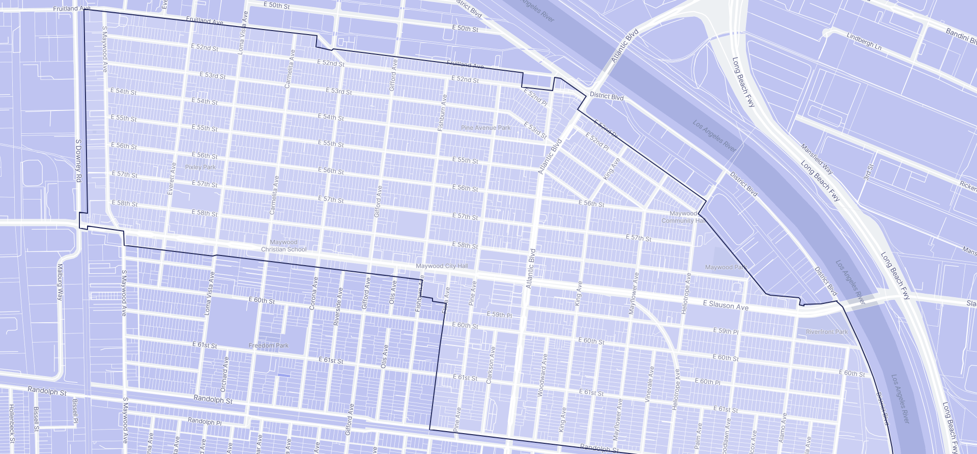 Image of Maywood boundaries on a map.