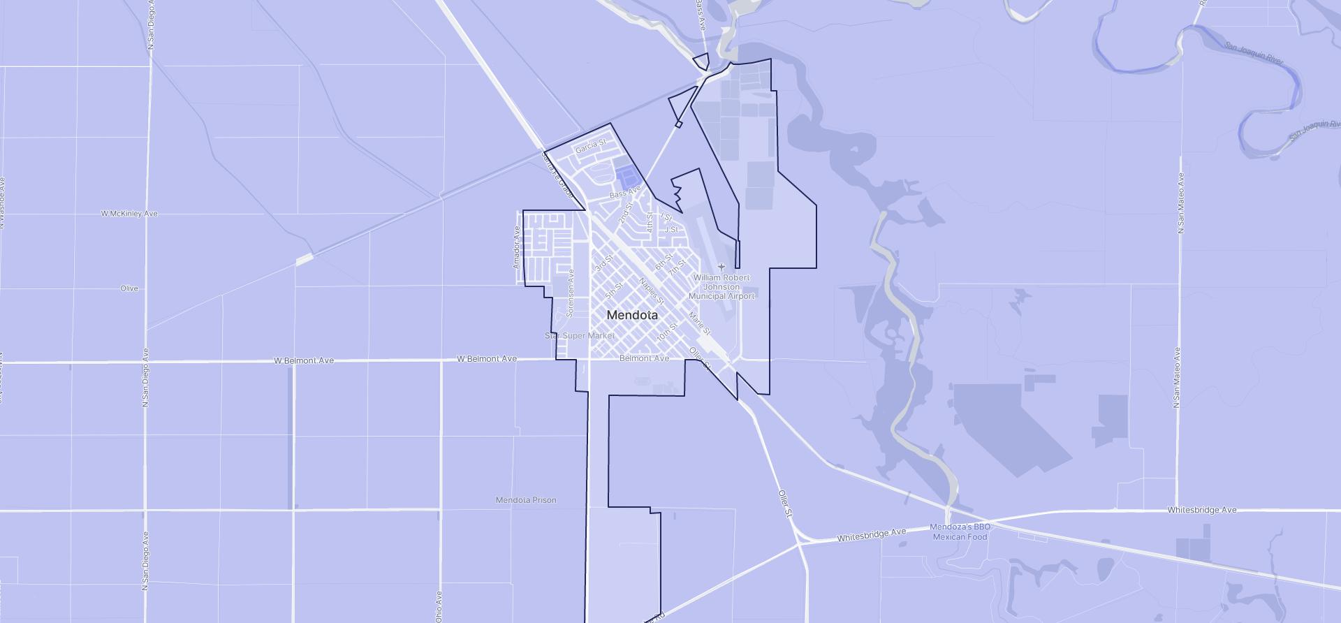 Image of Mendota boundaries on a map.