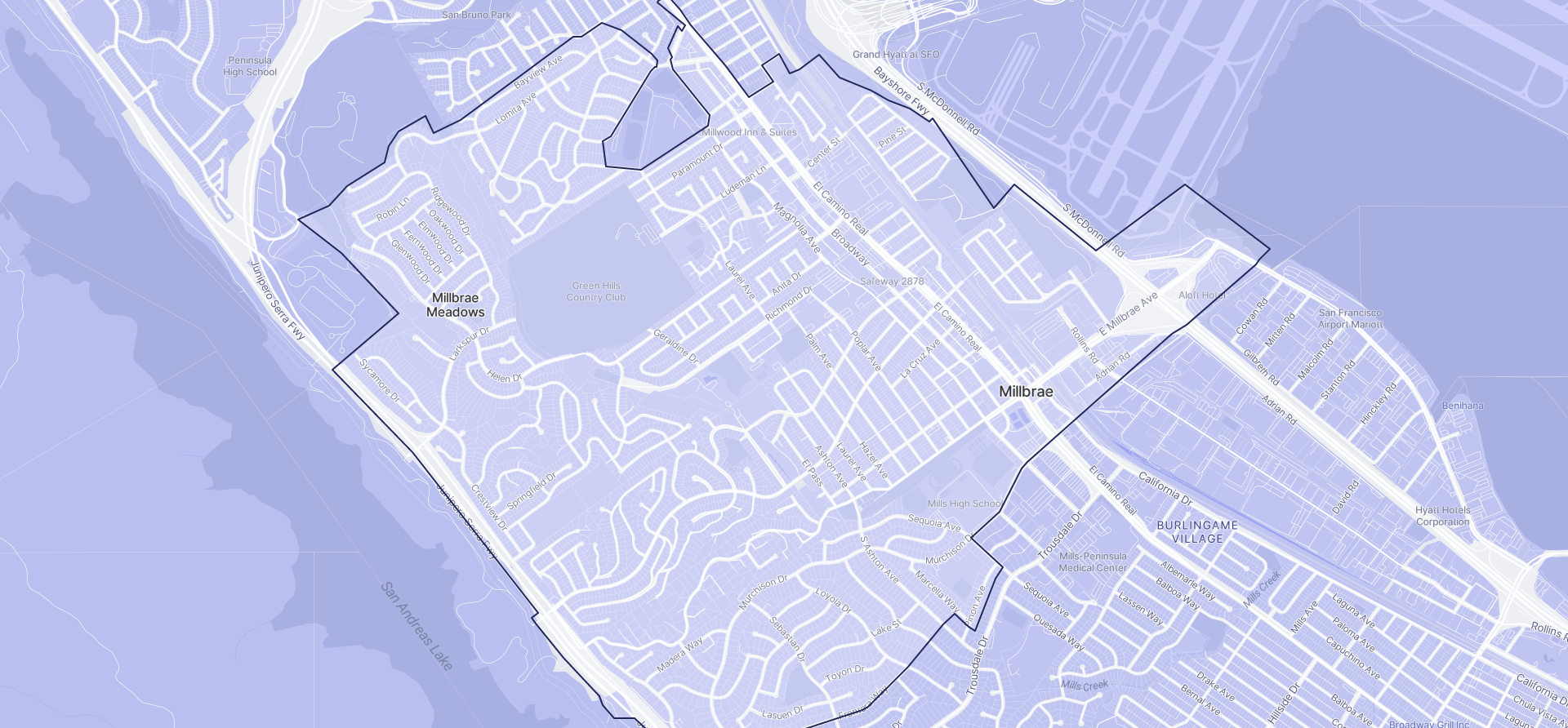 Image of Millbrae boundaries on a map.