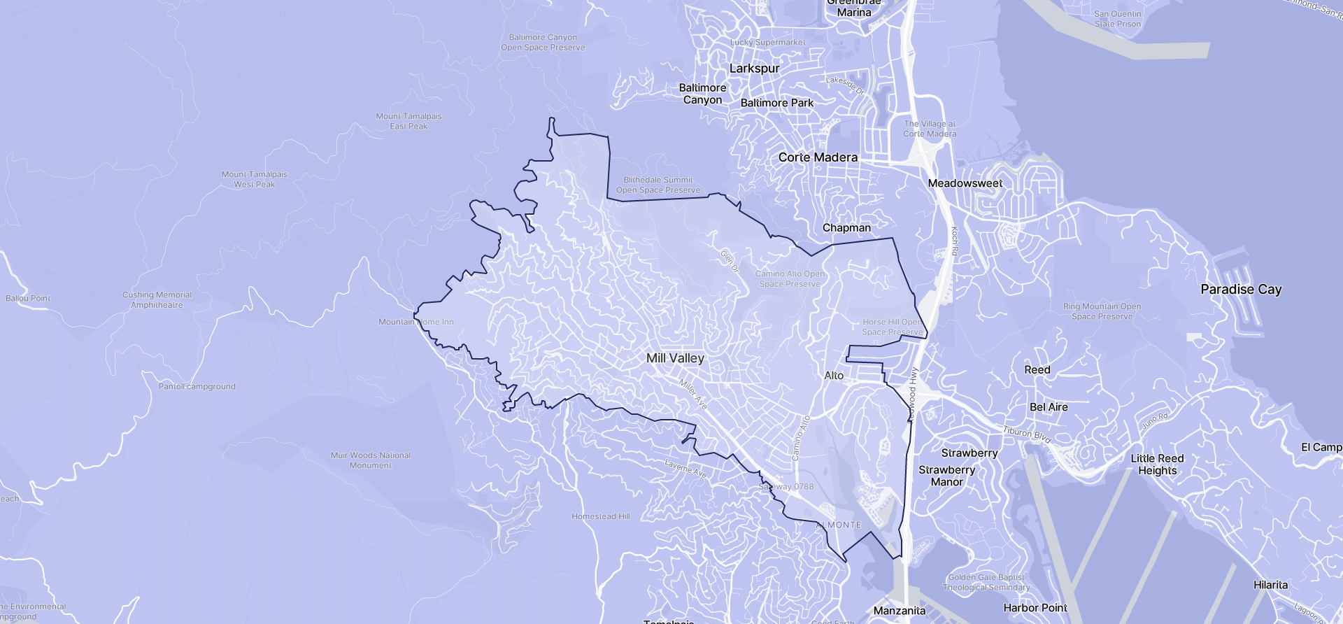 Image of Mill Valley boundaries on a map.