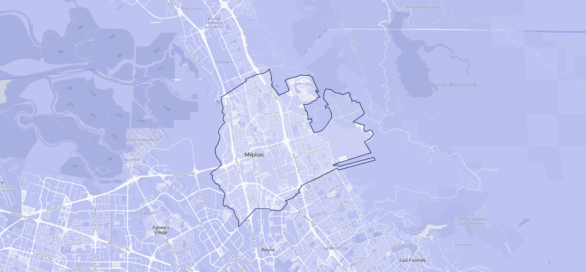 Image of Milpitas boundaries on a map.