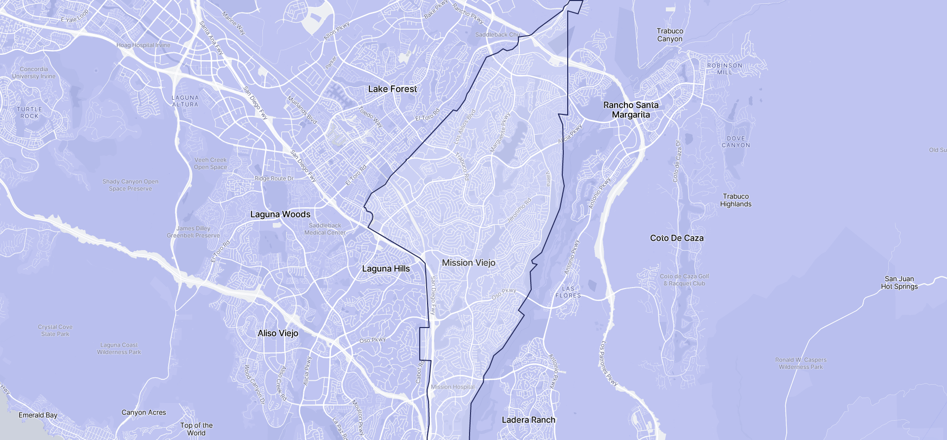 Image of Mission Viejo boundaries on a map.
