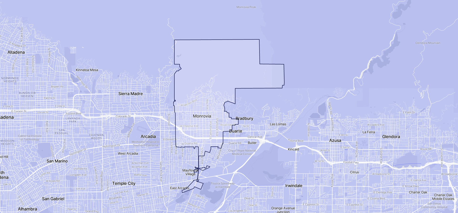Image of Monrovia boundaries on a map.