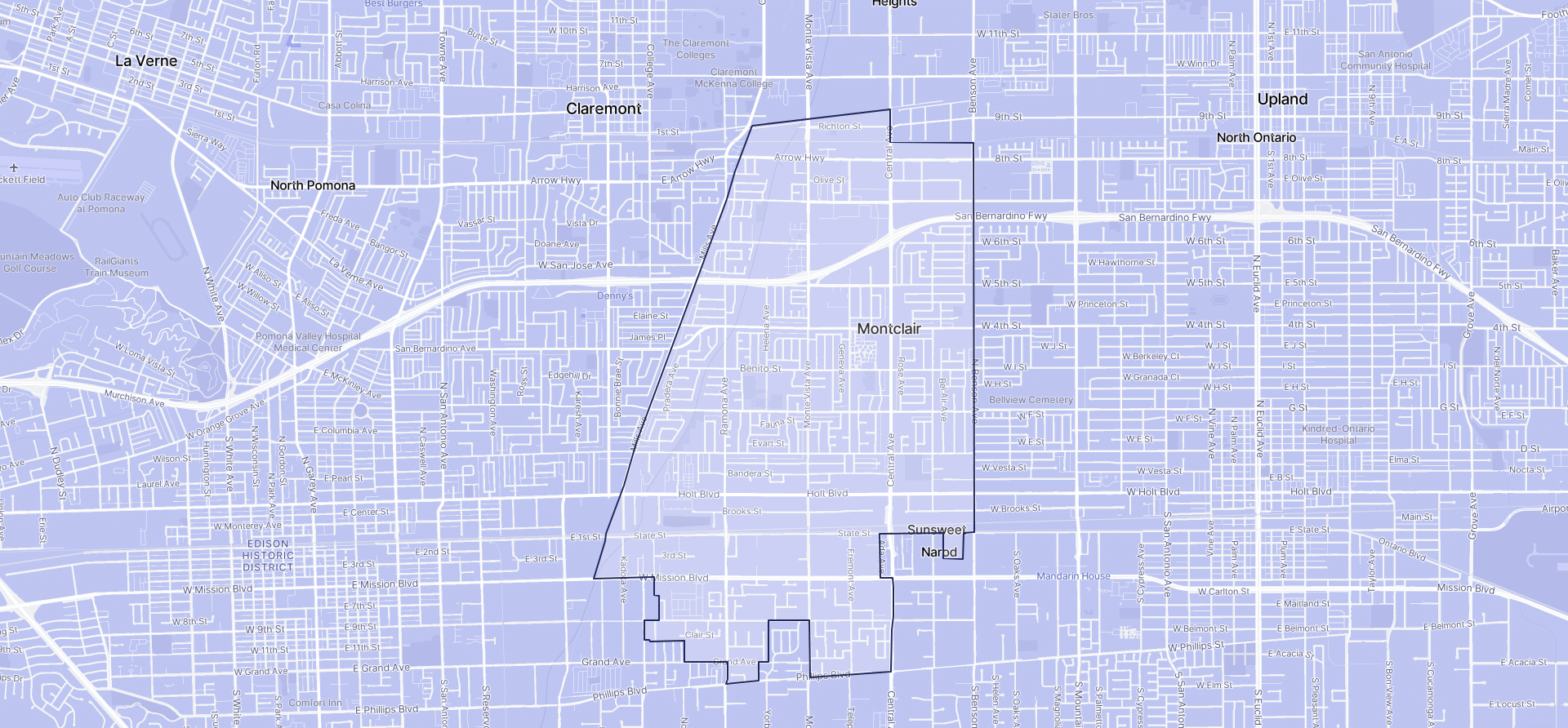 Image of Montclair boundaries on a map.