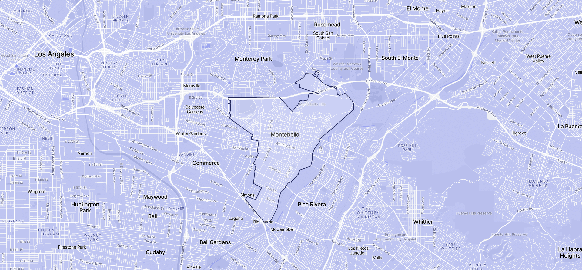 Image of Montebello boundaries on a map.