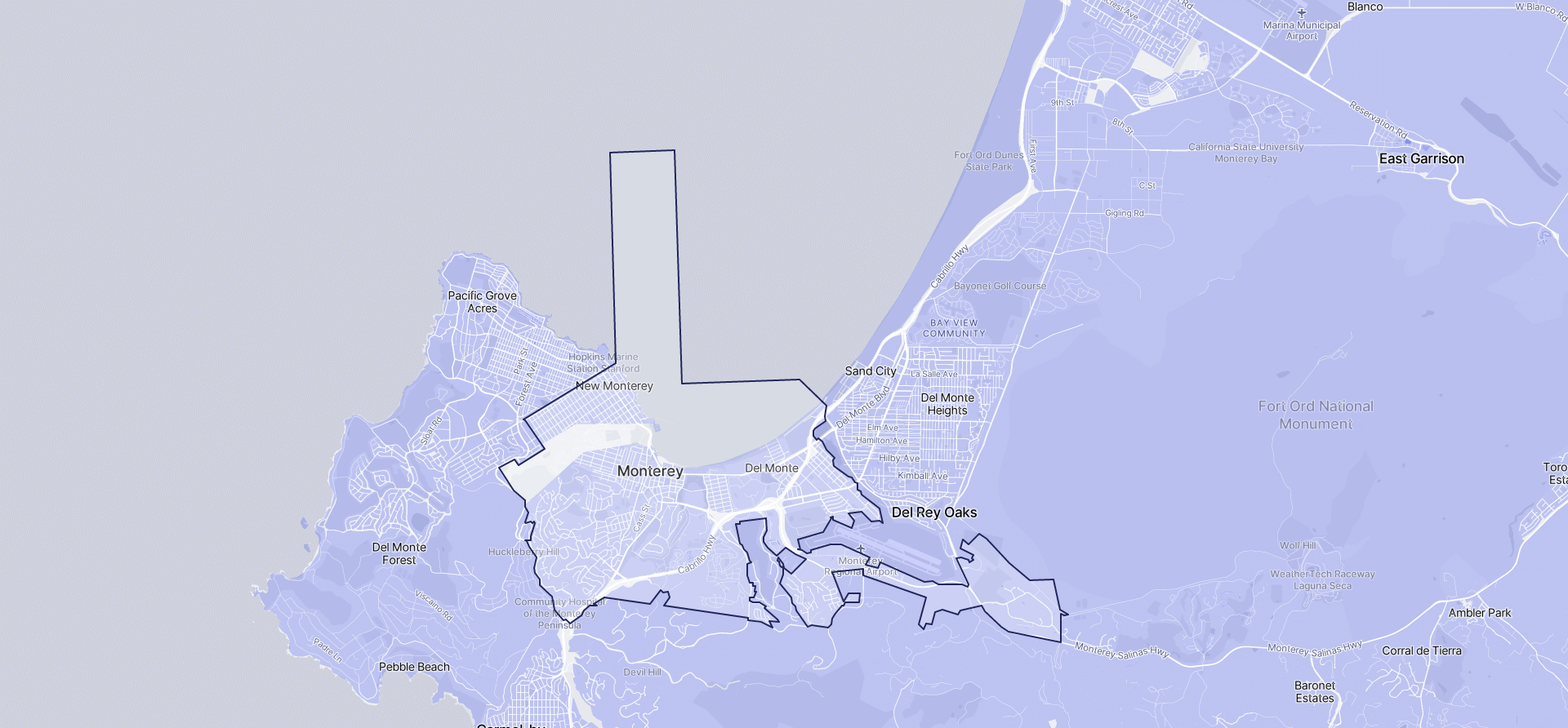 Image of Monterey boundaries on a map.