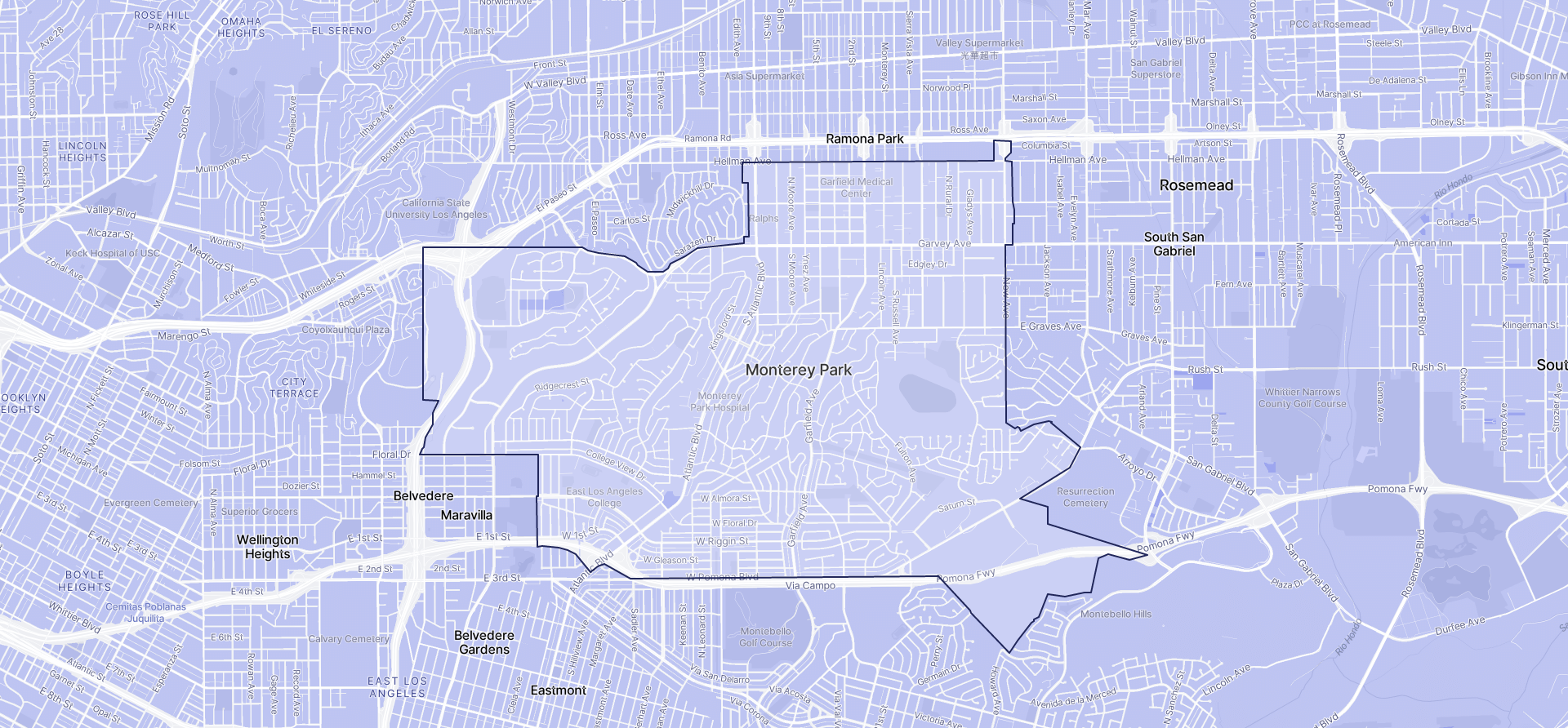 Image of Monterey Park boundaries on a map.