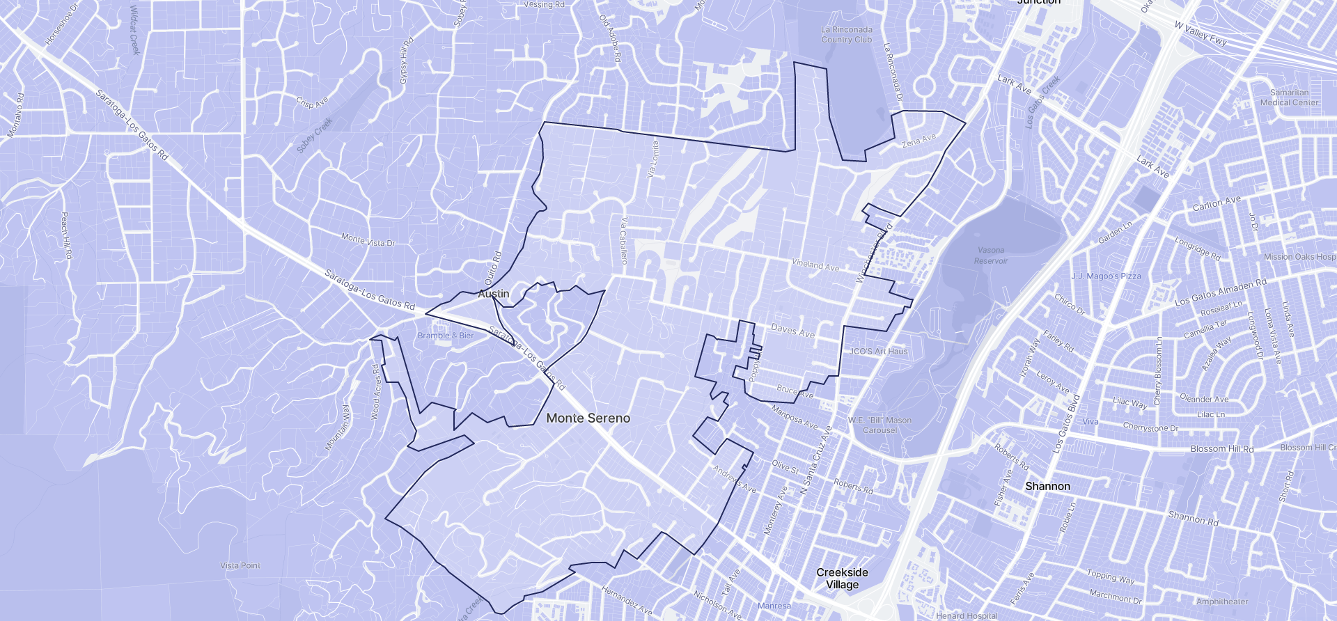 Image of Monte Sereno boundaries on a map.