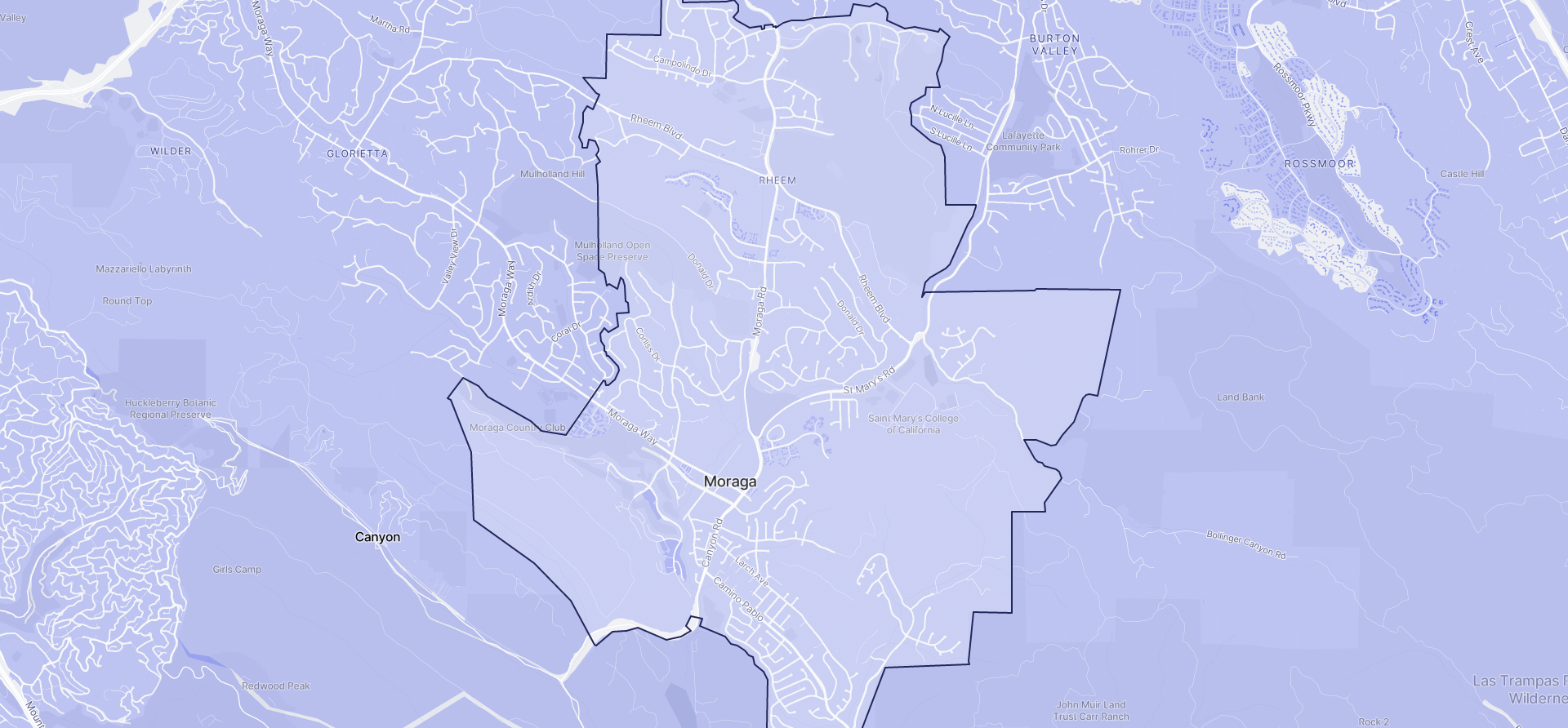 Image of Moraga boundaries on a map.