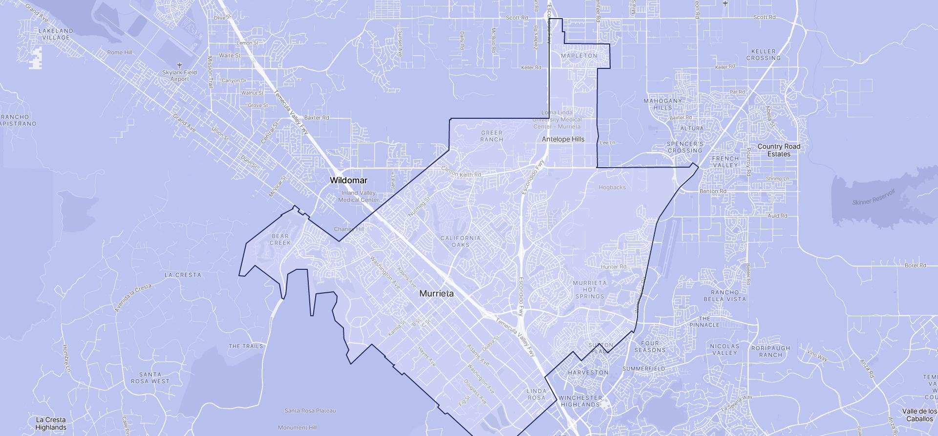 Image of Murrieta boundaries on a map.