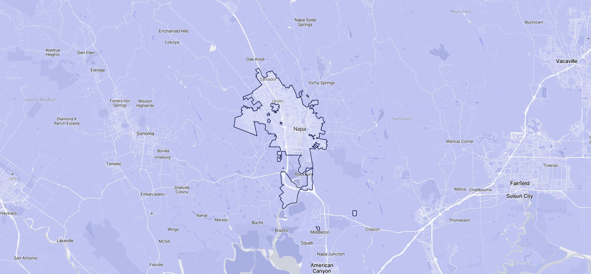 Image of Napa boundaries on a map.