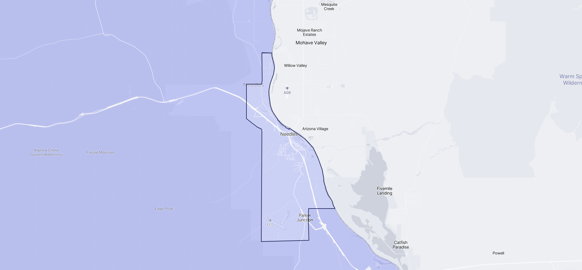 Image of Needles boundaries on a map.