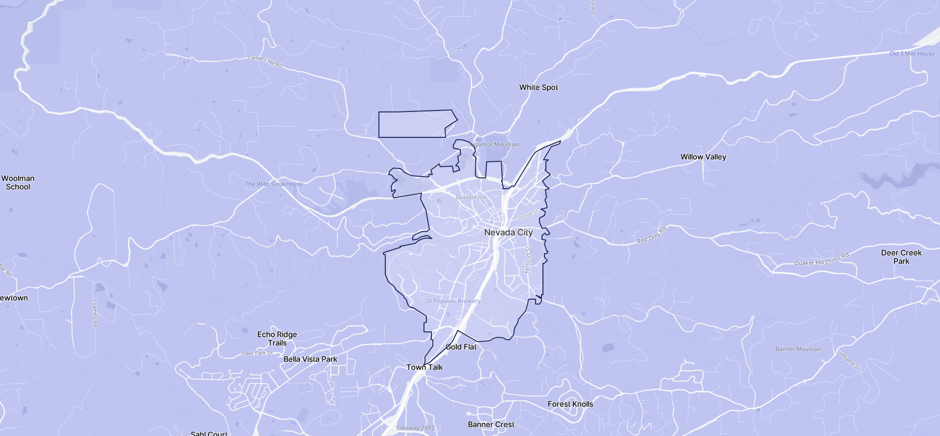 Image of Nevada City boundaries on a map.