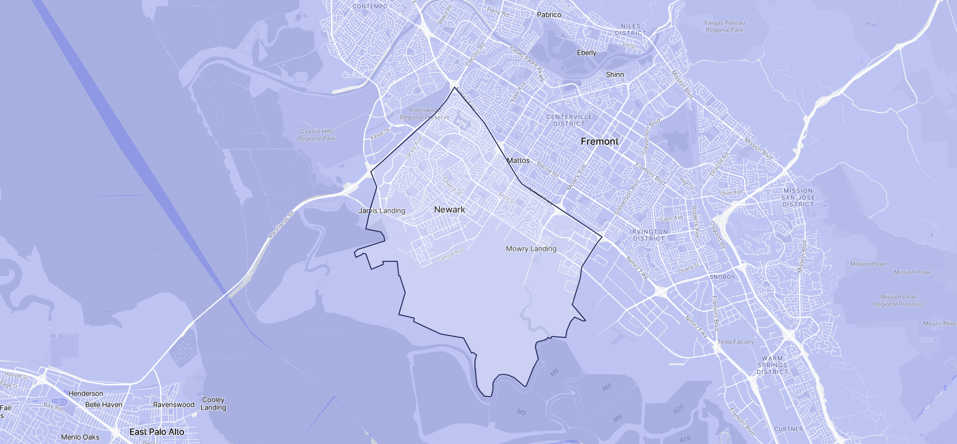 Image of Newark boundaries on a map.