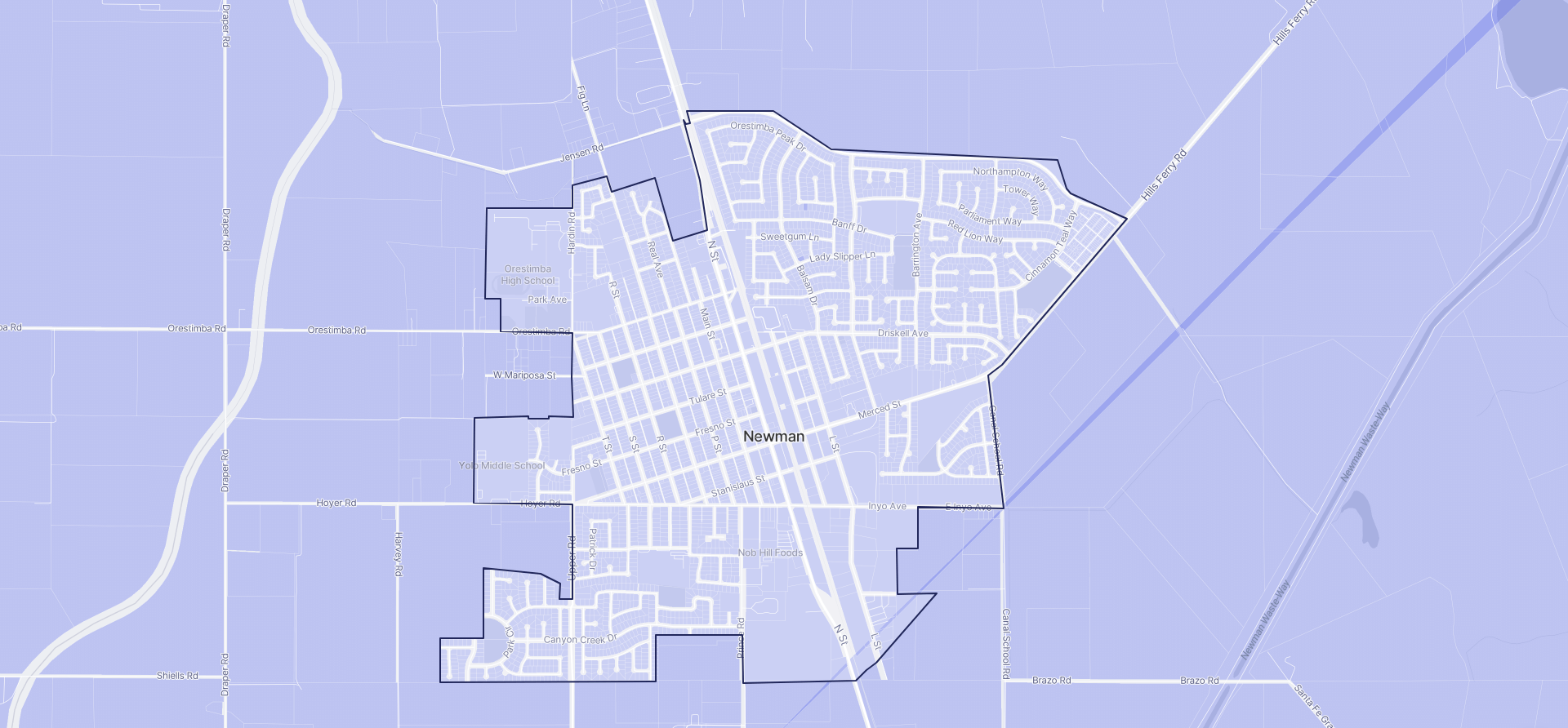 Image of Newman boundaries on a map.