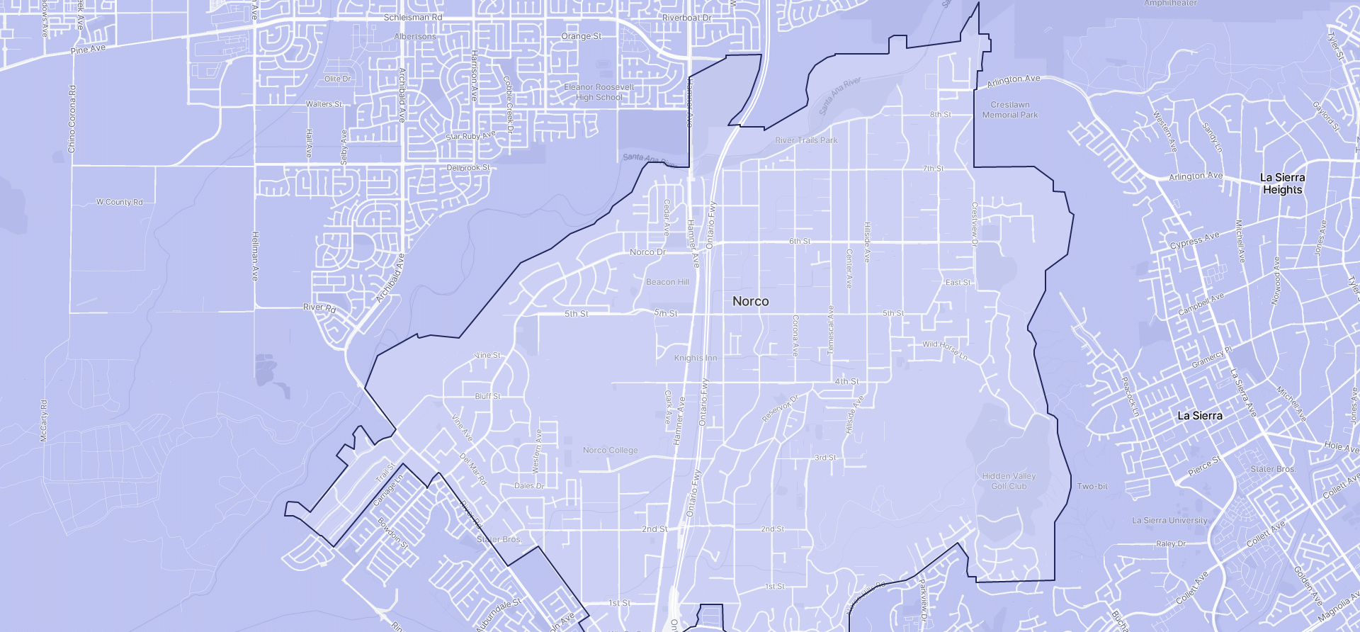 Image of Norco boundaries on a map.