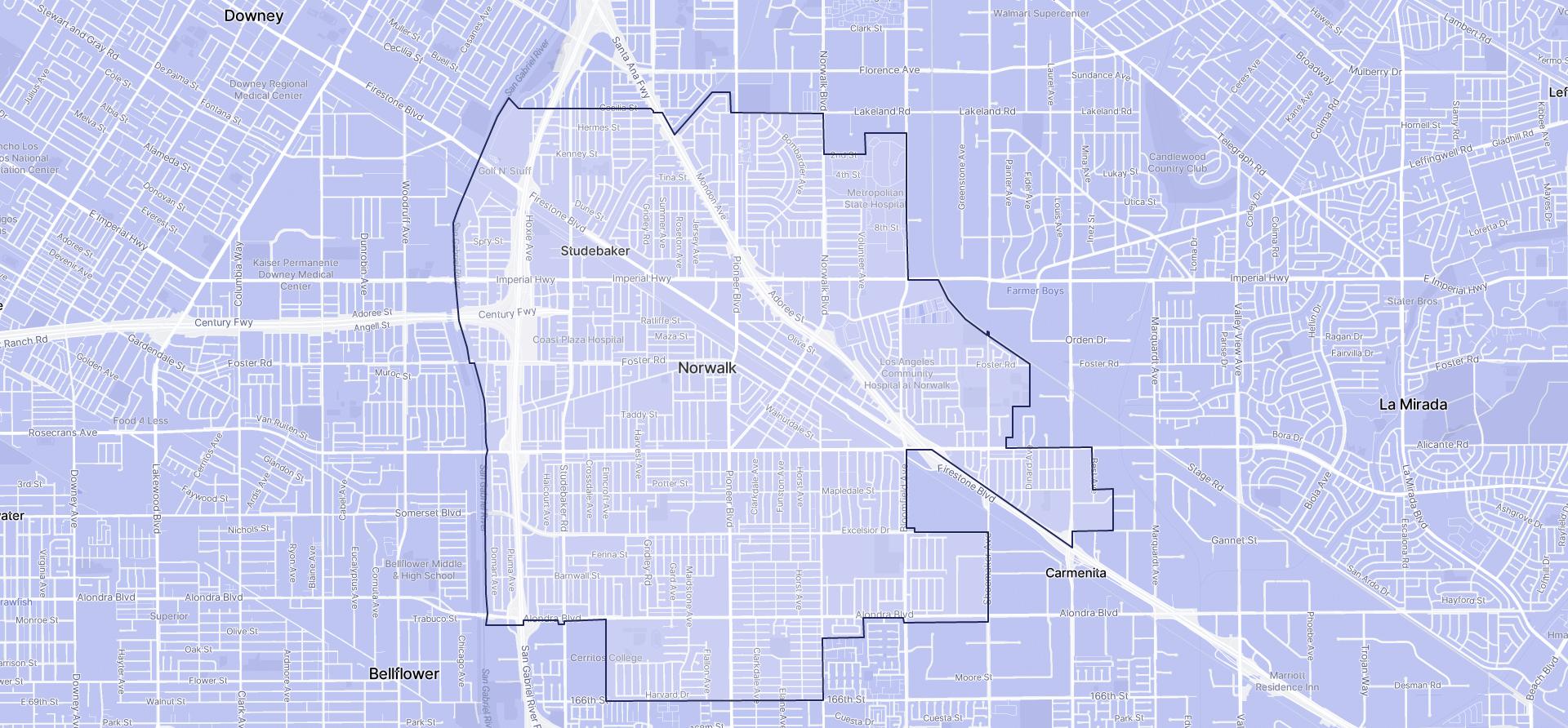 Image of Norwalk boundaries on a map.