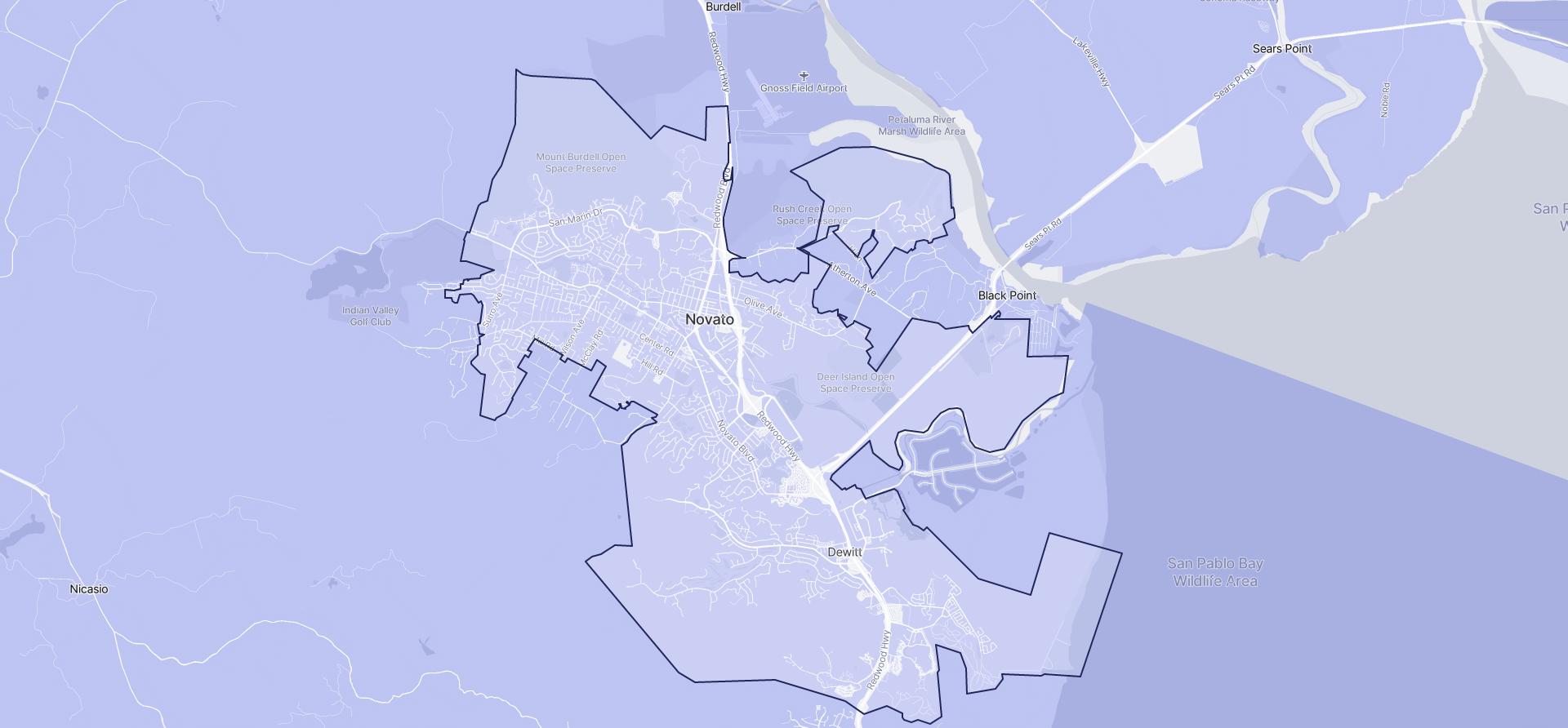 Image of Novato boundaries on a map.