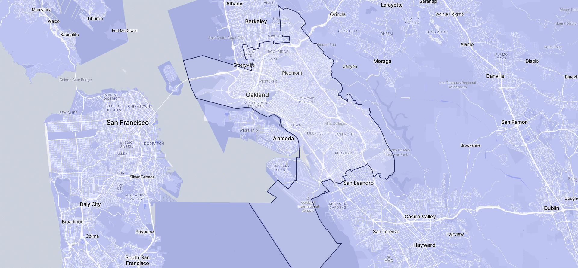 Image of Oakland boundaries on a map.