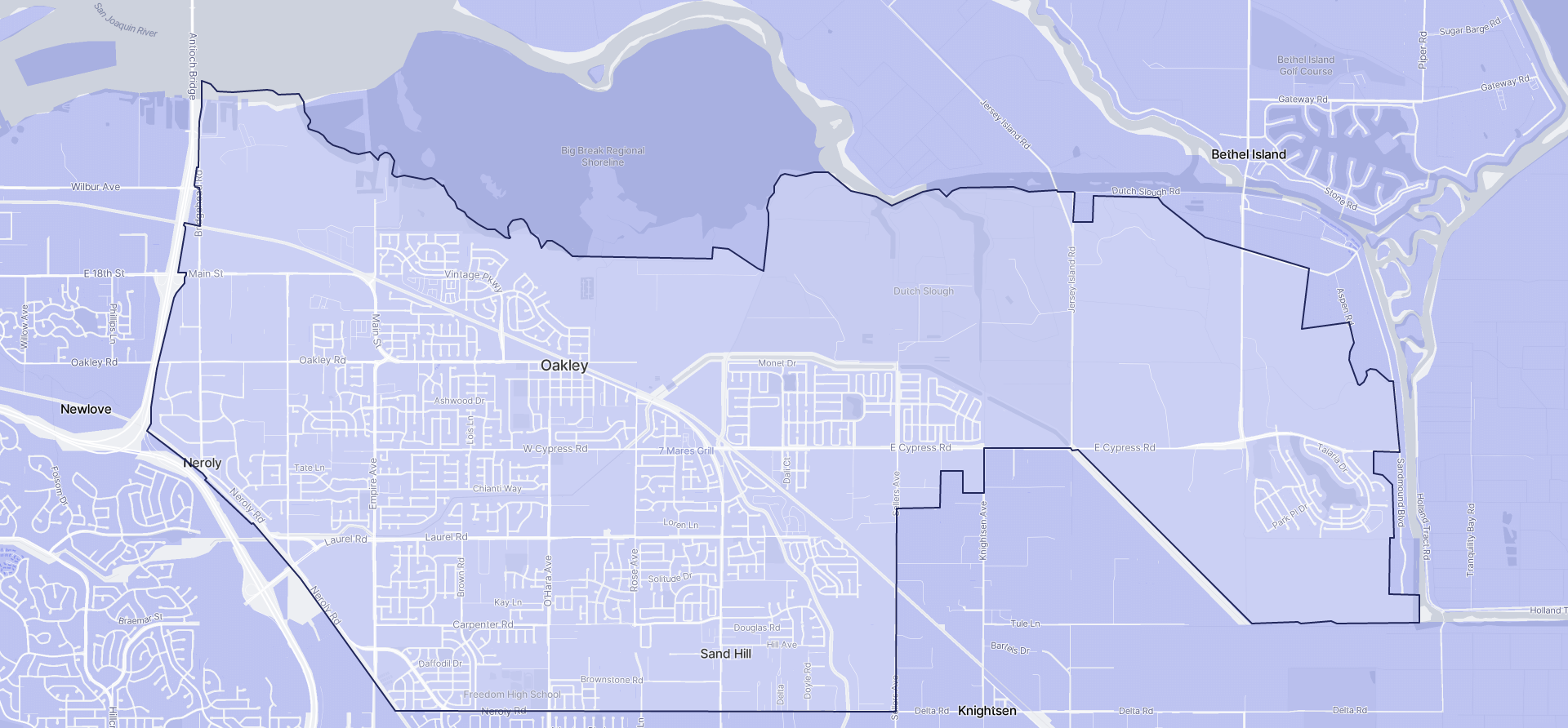 Image of Oakley boundaries on a map.