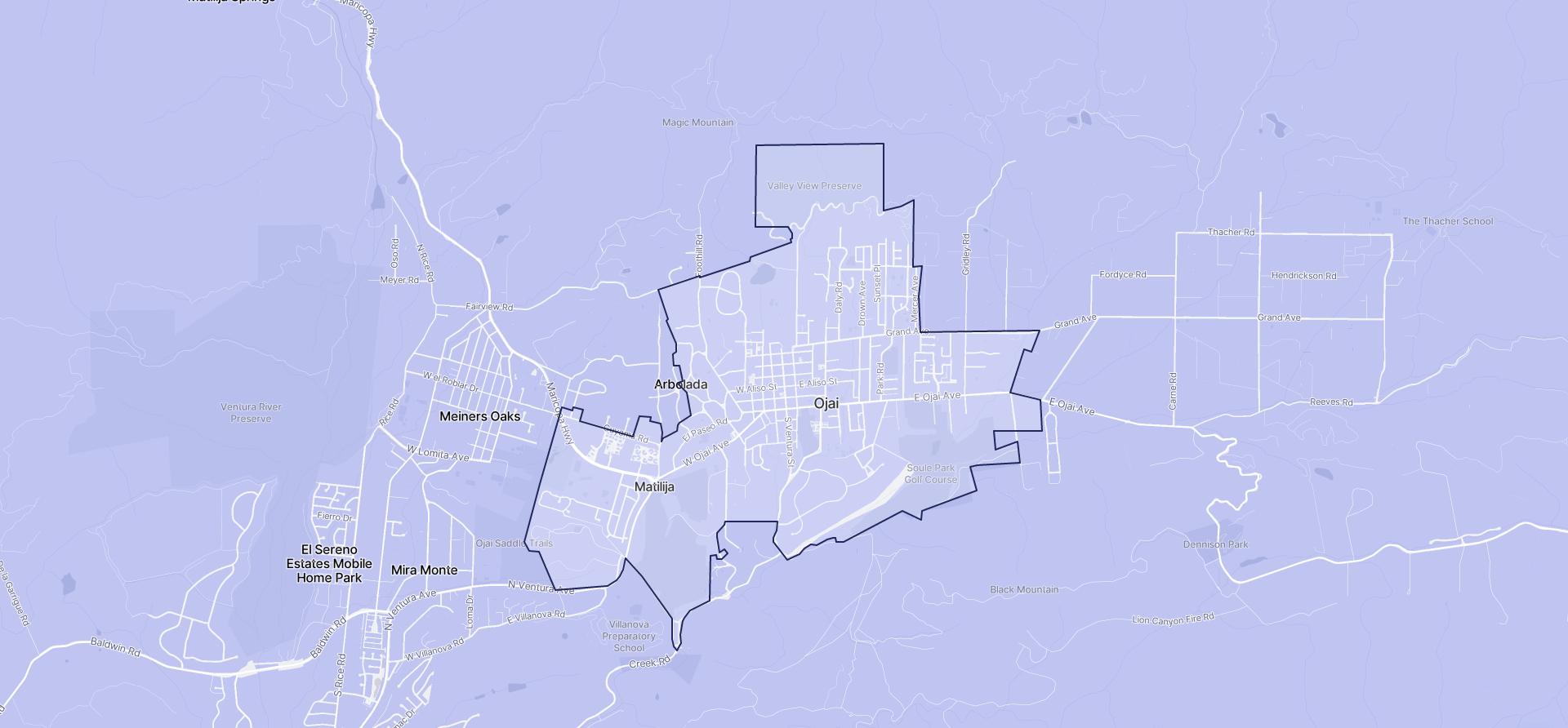 Image of Ojai boundaries on a map.