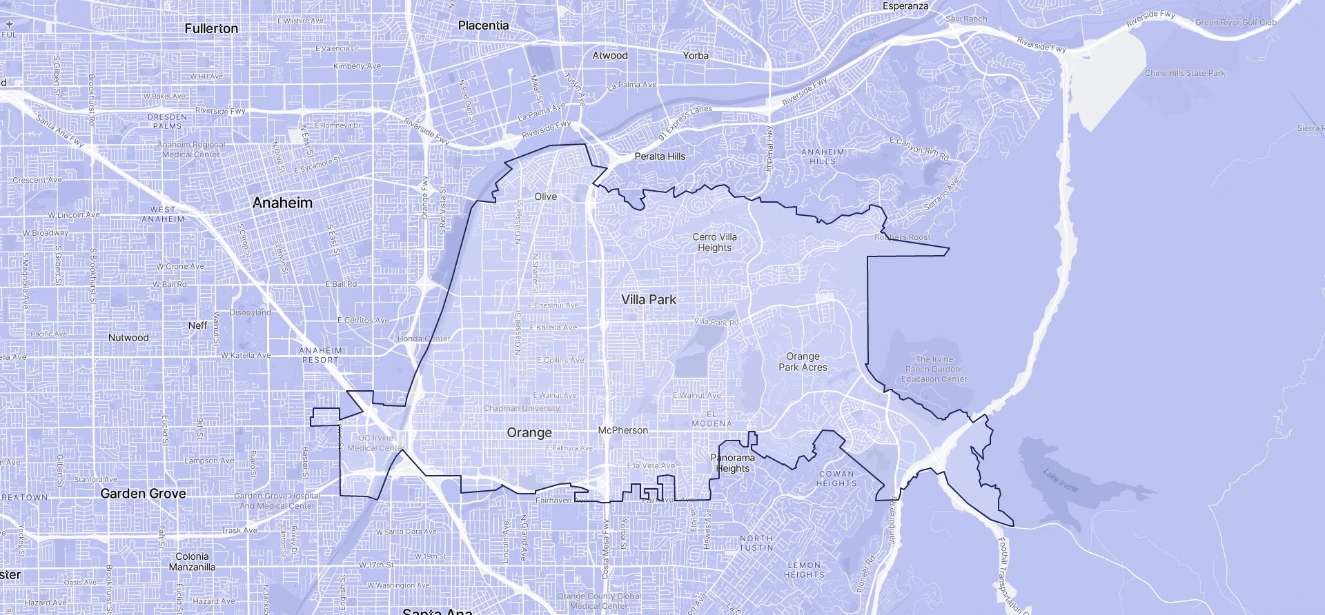 Image of Orange boundaries on a map.