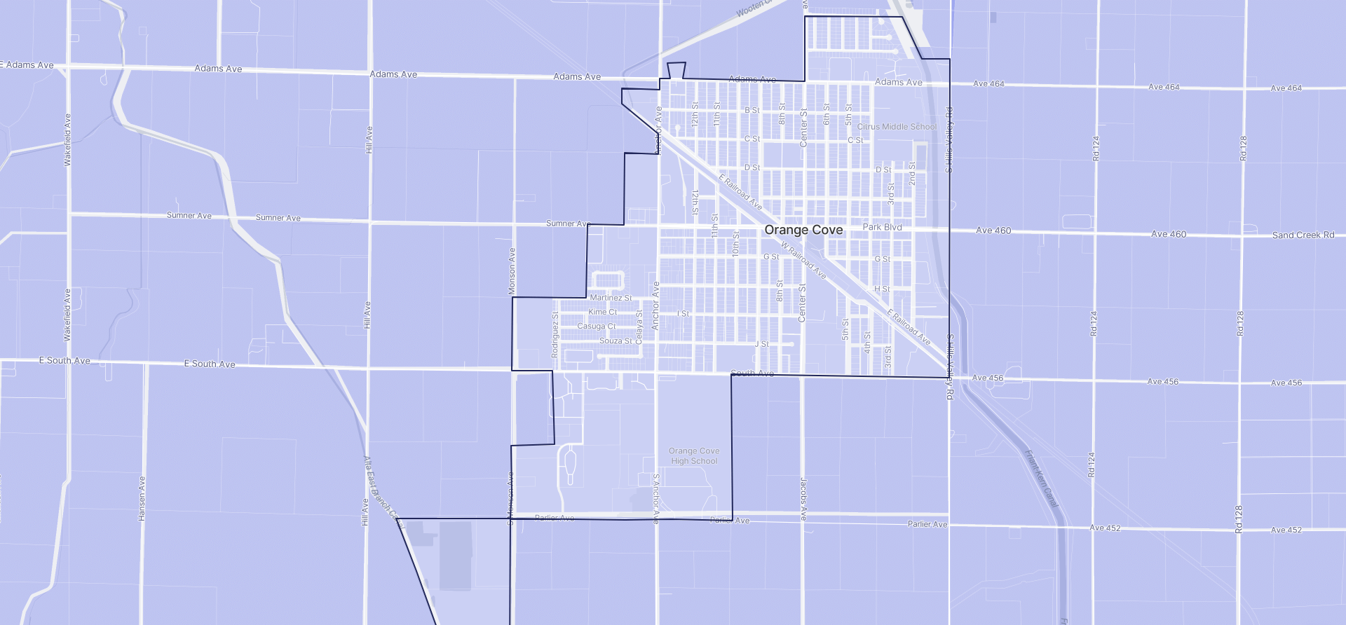 Image of Orange Cove boundaries on a map.