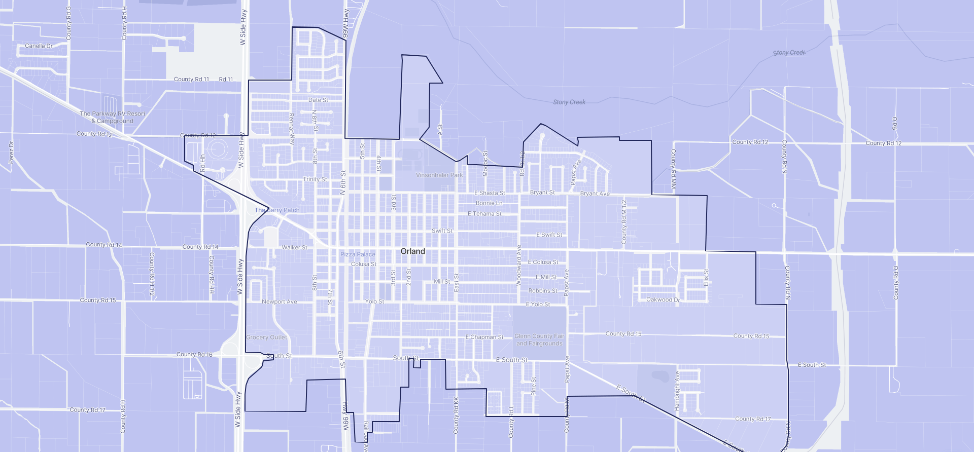 Image of Orland boundaries on a map.