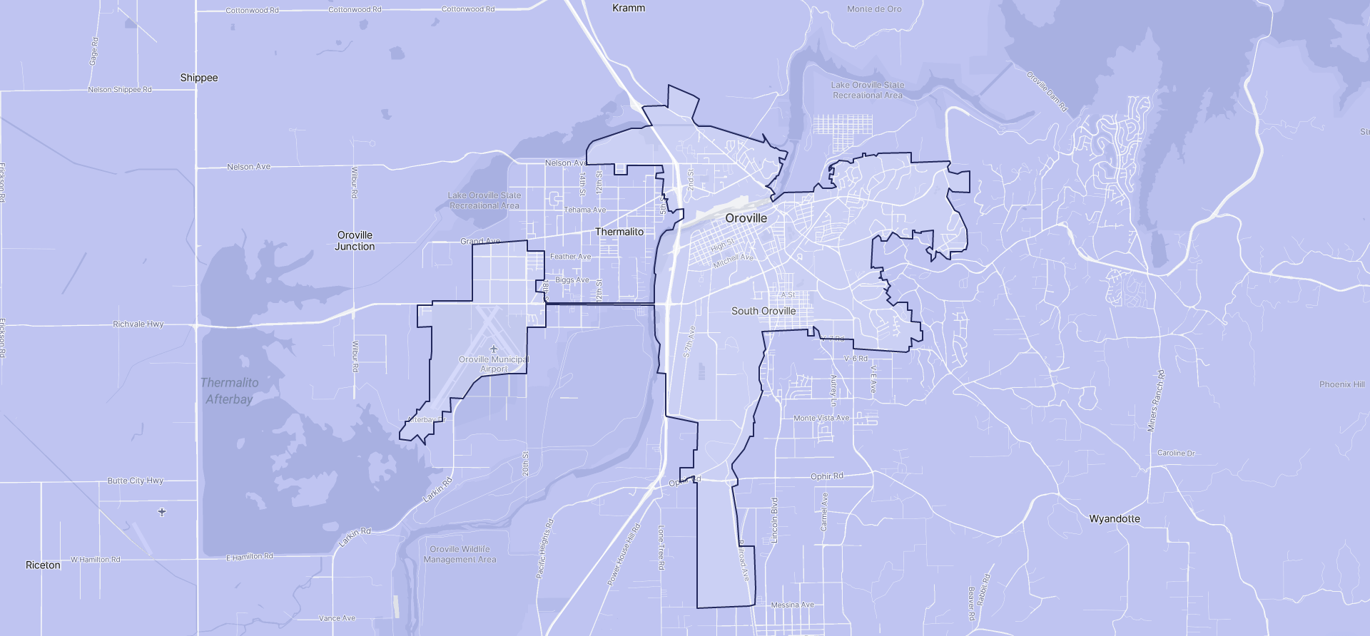 Image of Oroville boundaries on a map.