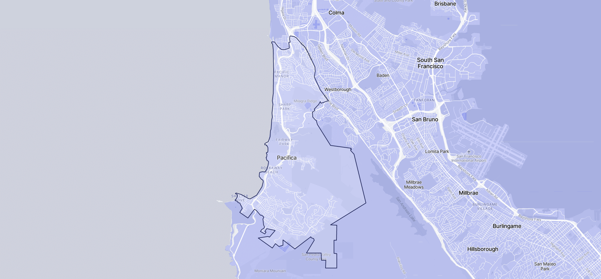 Image of Pacifica boundaries on a map.