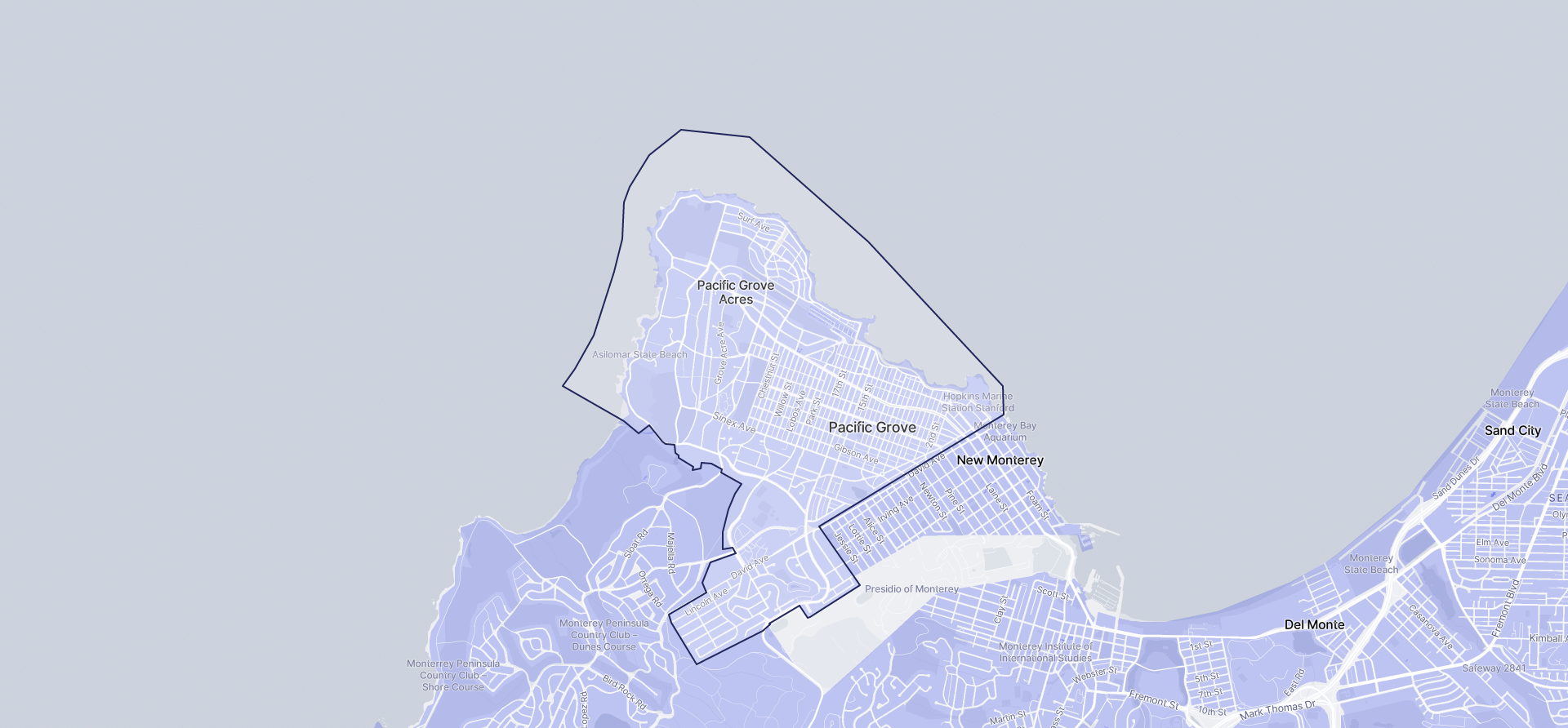 Image of Pacific Grove boundaries on a map.