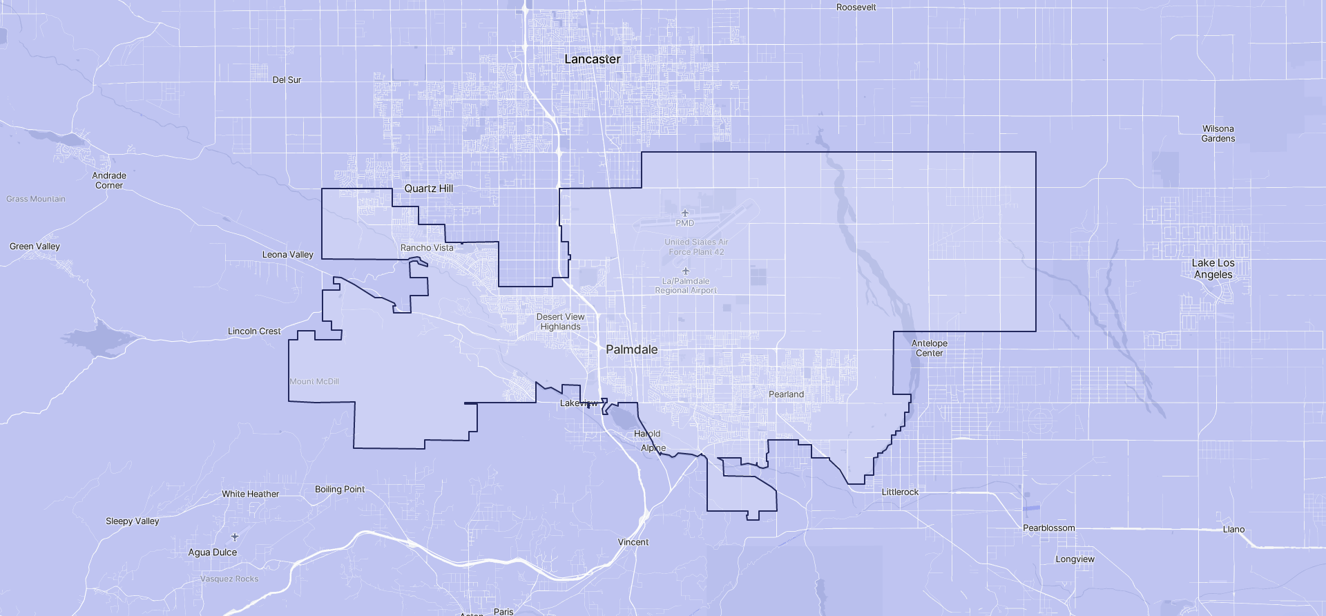 Image of Palmdale boundaries on a map.