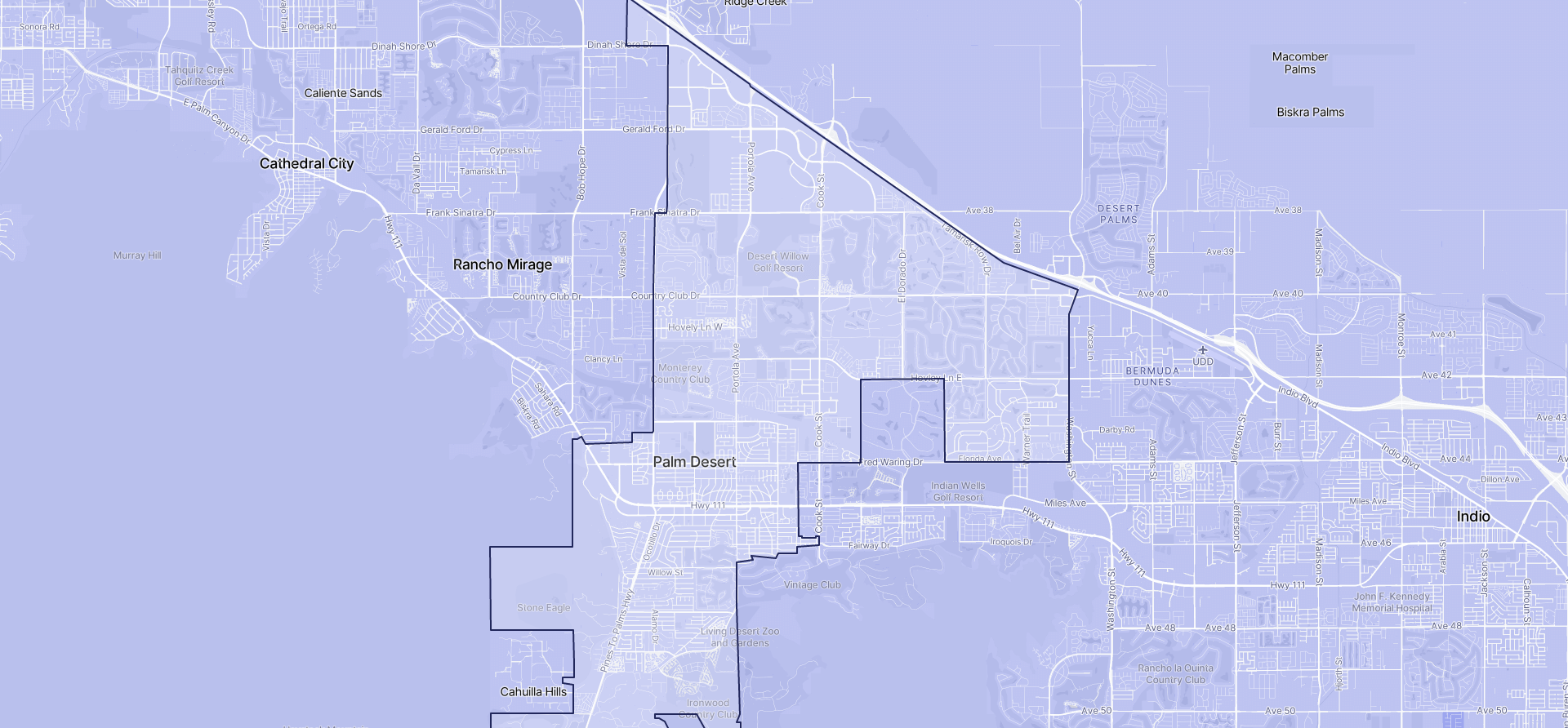 Image of Palm Desert boundaries on a map.
