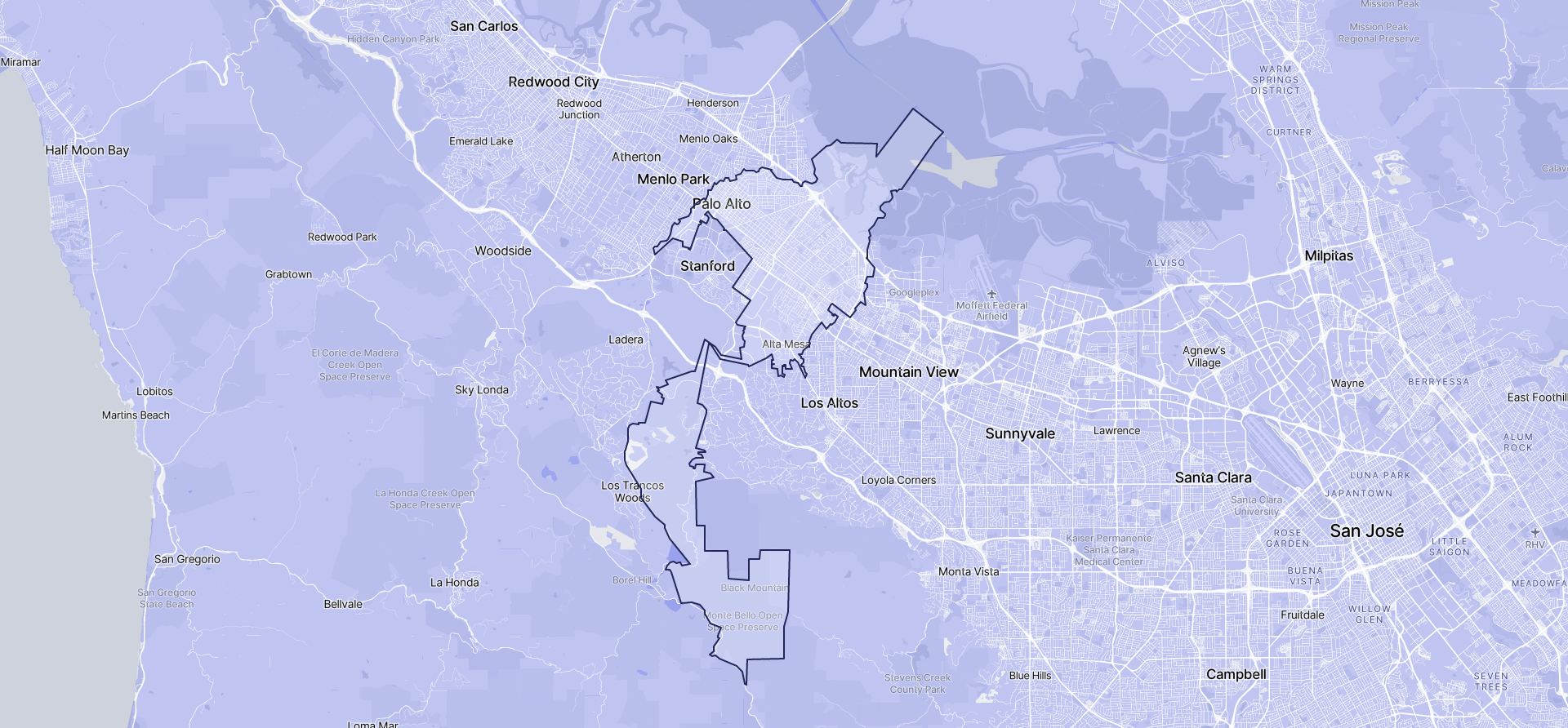 Image of Palo Alto boundaries on a map.