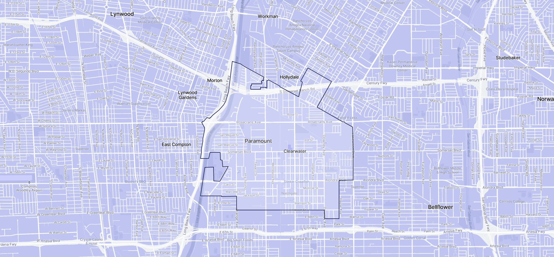 Image of Paramount boundaries on a map.