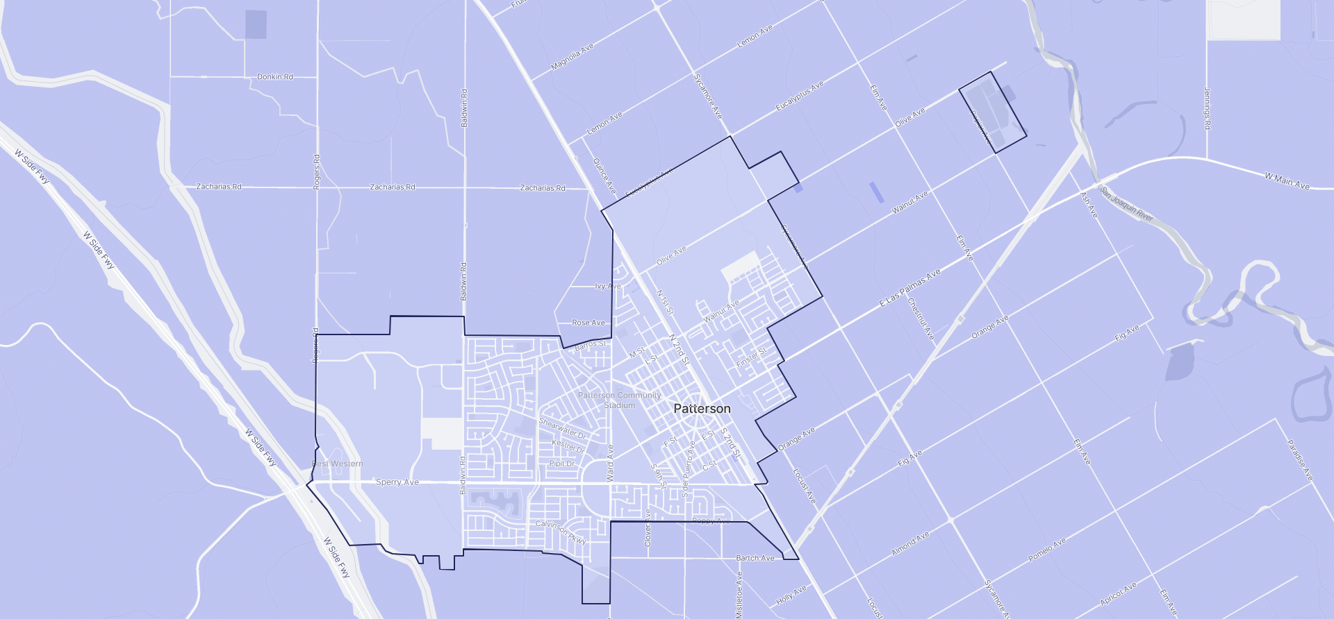 Image of Patterson boundaries on a map.