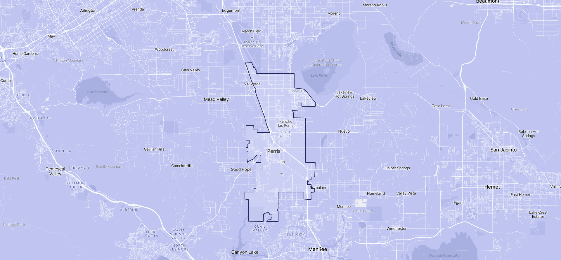 Image of Perris boundaries on a map.