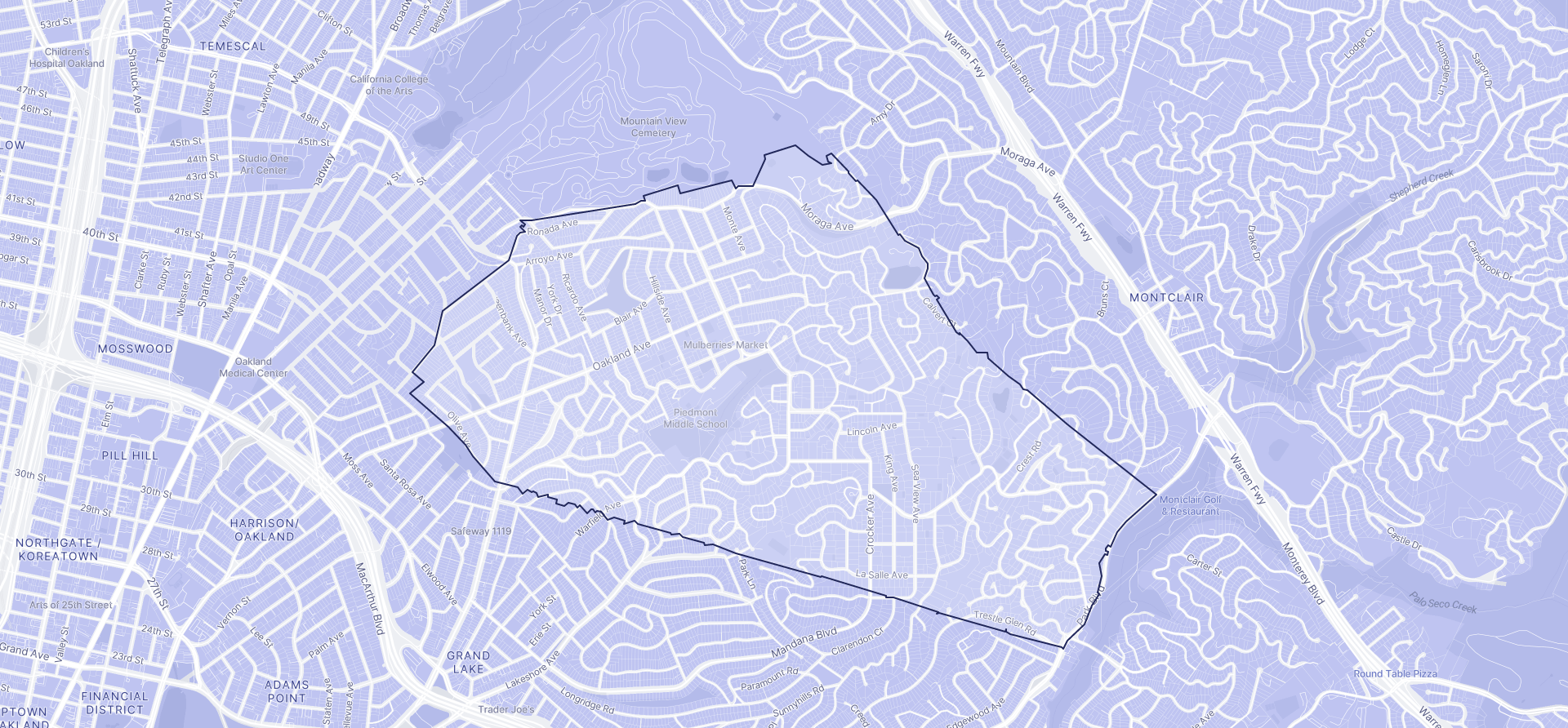 Image of Piedmont boundaries on a map.