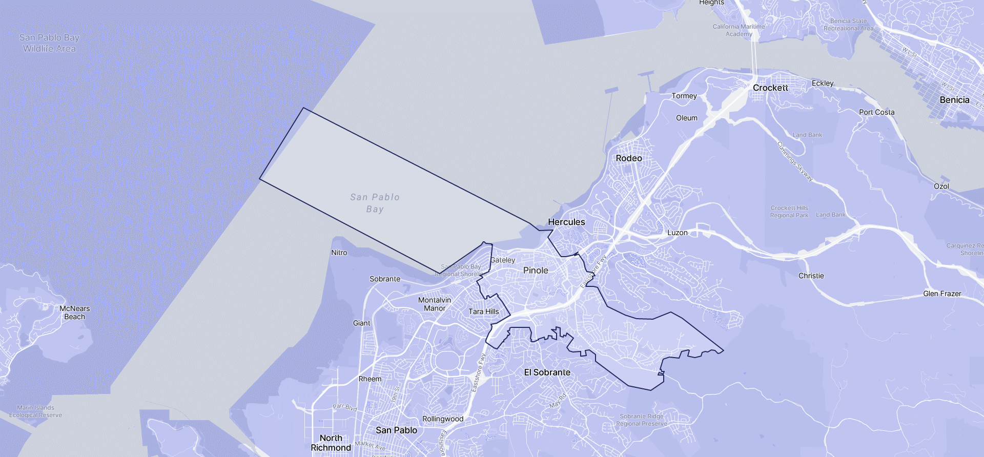Image of Pinole boundaries on a map.