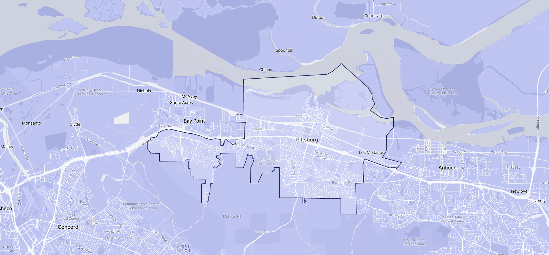 Image of Pittsburg boundaries on a map.