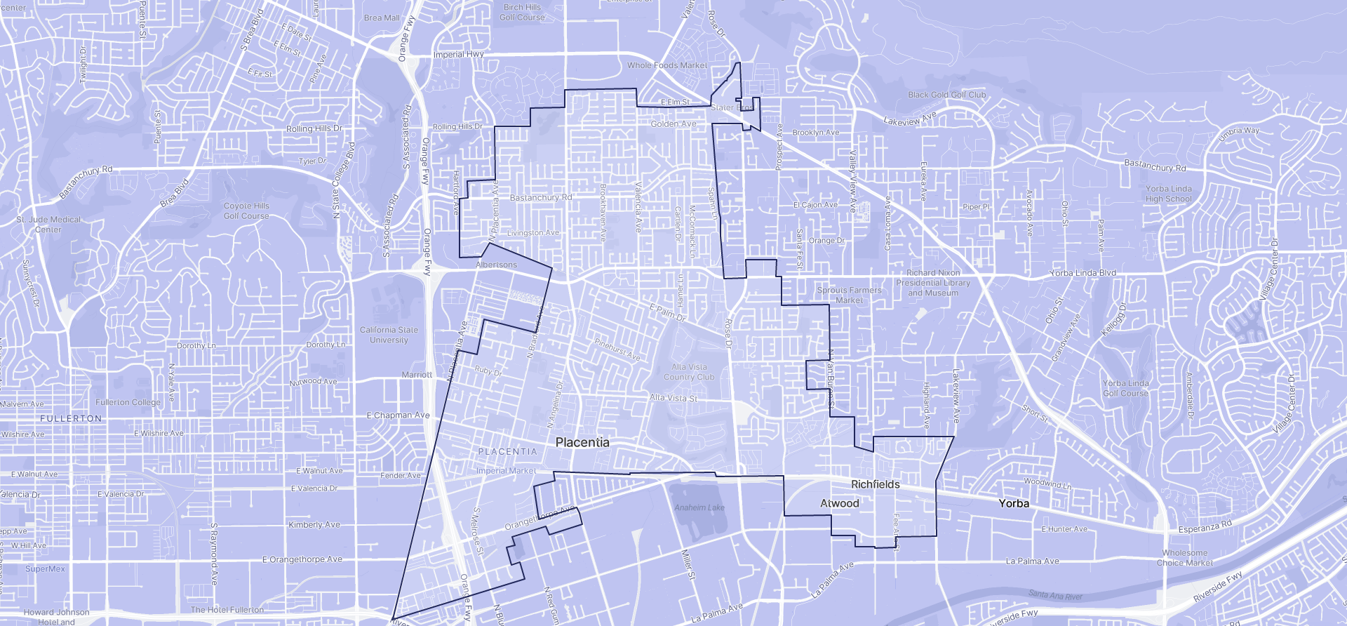Image of Placentia boundaries on a map.