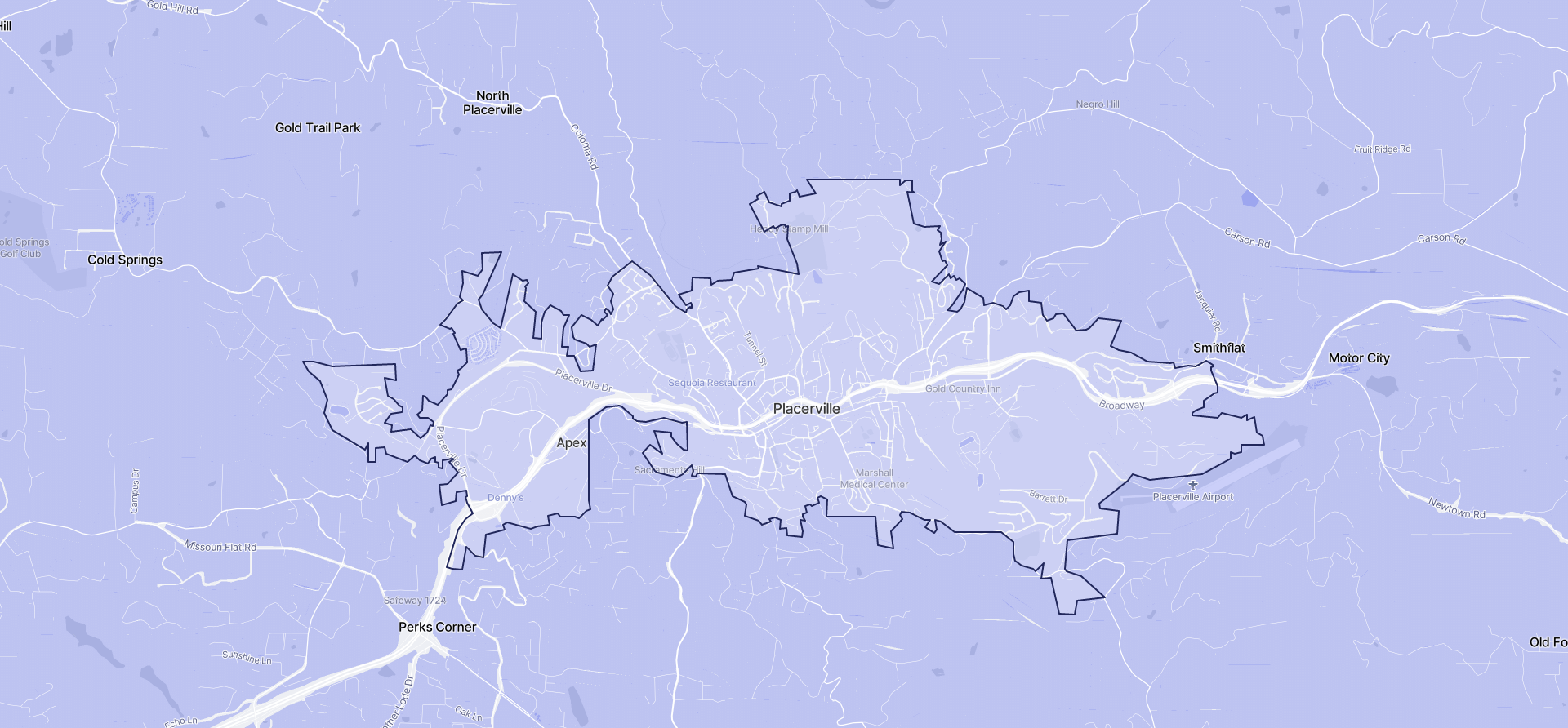 Image of Placerville boundaries on a map.