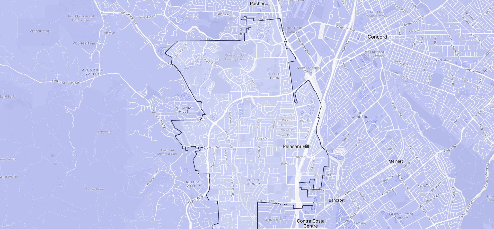 Image of Pleasant Hill boundaries on a map.