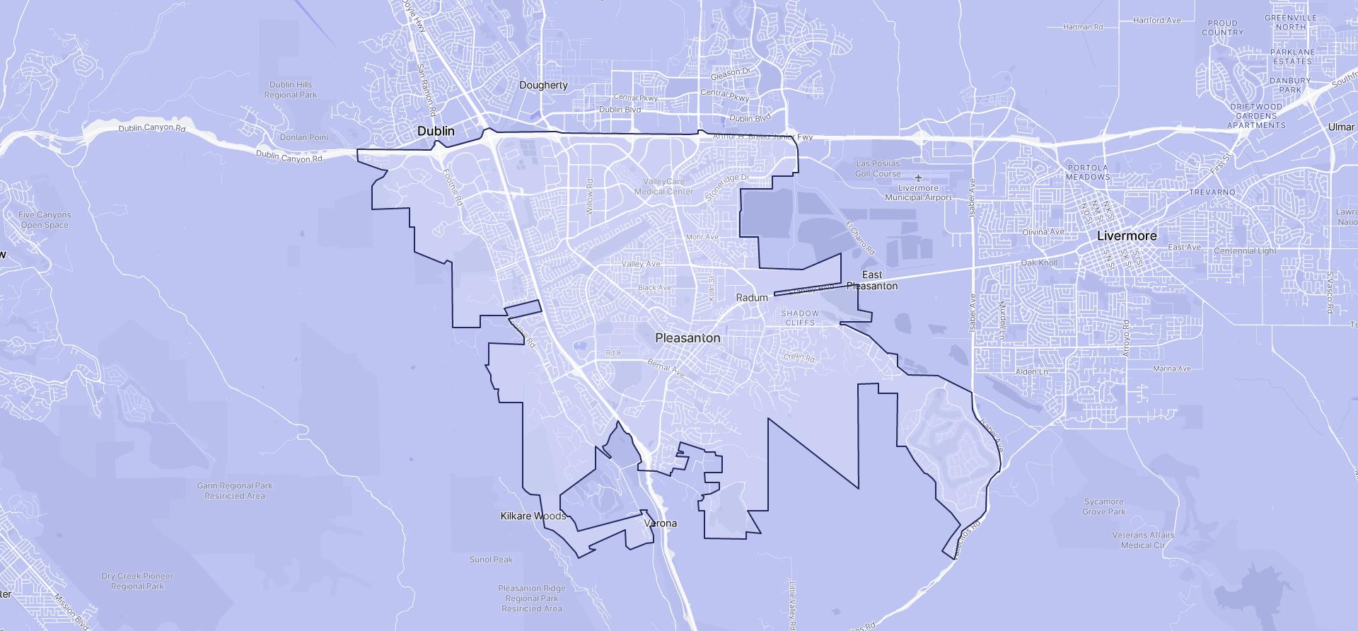 Image of Pleasanton boundaries on a map.