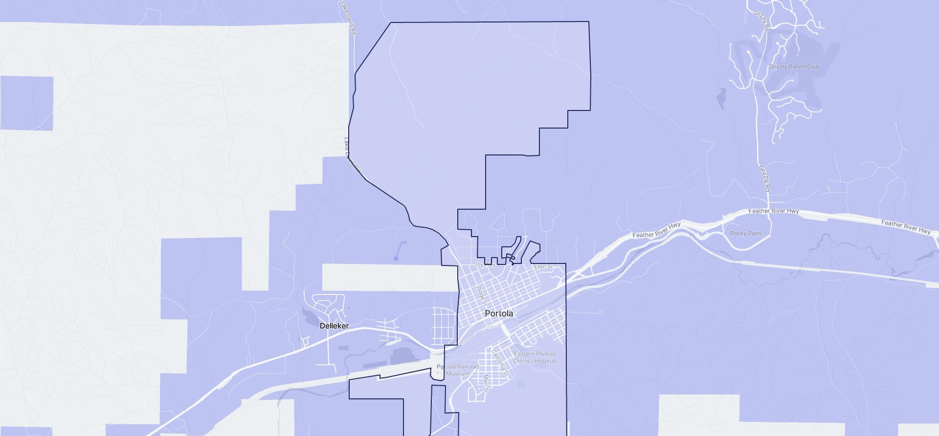 Image of Portola boundaries on a map.